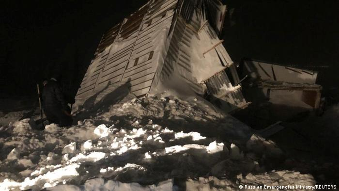 A view shows the accident scene after an avalanche hit a ski resort in the Siberian city of Norilsk