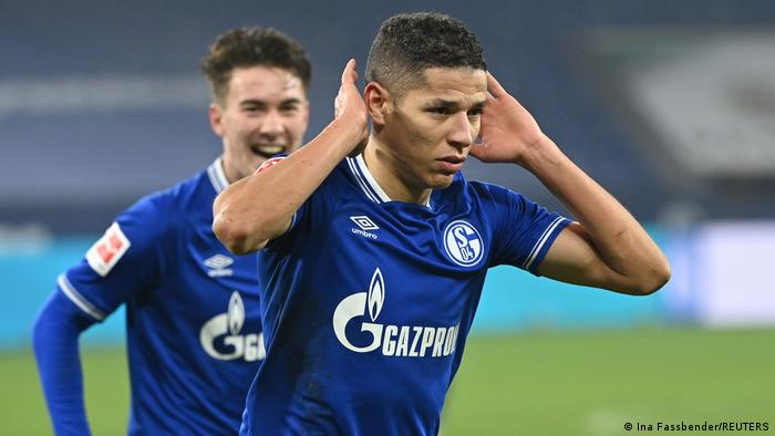 Amine Harit celebrates his goal in Schalke's win