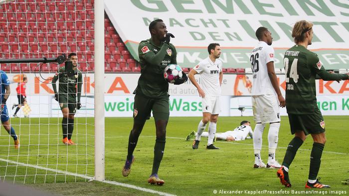 Silas Wamangituka celebrates after scoring for Stuttgart against Augsburg