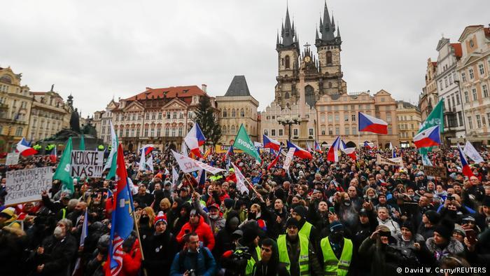 Массовые протесты против локдауна в Праге, 10 января 2021 года