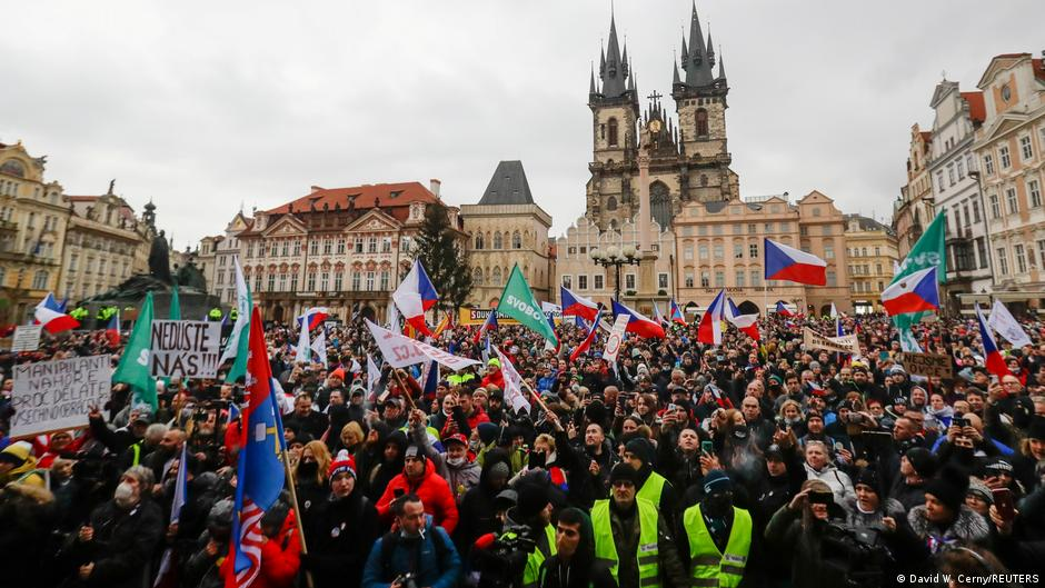 Protest in the Old Town Square in Prague