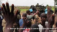 Besuchs des zentralafrikanischen Premierministers Firmin Ngrebada am Sonntag, den 10. Januar 2021 in Boali bei Bangui. Copyright: Service de presse et de la communication du Premier ministre.