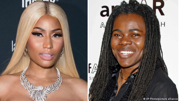A double portrait of Nicki Minaj (left) and Tracy Chapman (right)