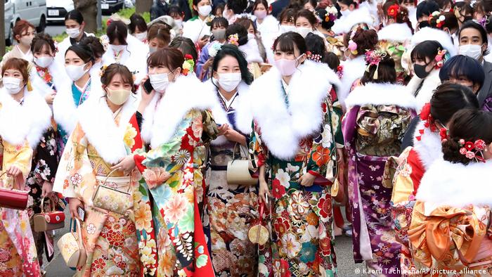 women go to a hall to attend a Coming-of-Age ceremony in Yokohama City