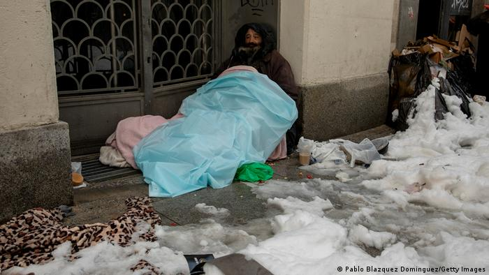 Homeless person in Madrid