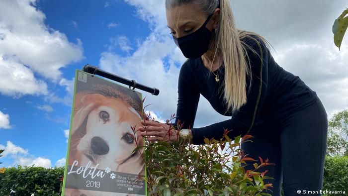 Doris Sanchez at the memorial garden outside Medellin run by pet composting company Pleia