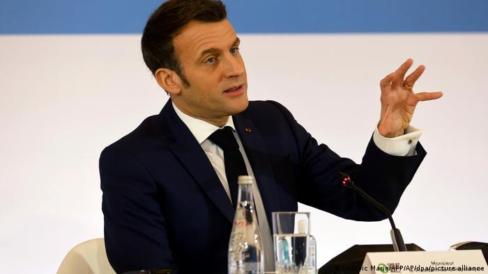 Emmanuel Macron speaks in Paris