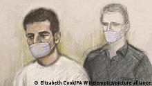 A court artist sketch of the attacker