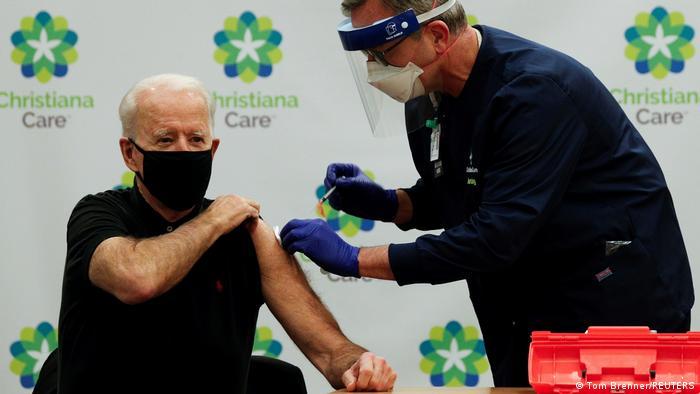 US President-Elect Joe Biden receiving his vaccination against COVID-19