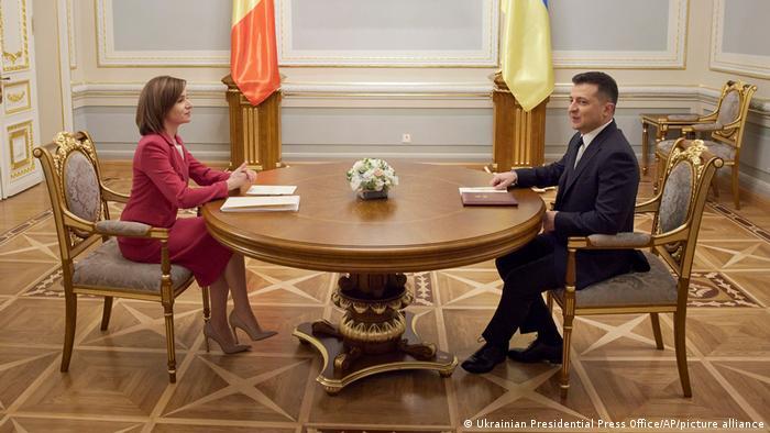 Президентка Молдови Майя Санду на зустрічі з українським колегою Володимиром Зеленським у Києві, 12 січня 2021 року