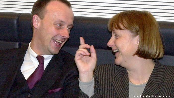Friedrich Merz and Angela Merkel in 2000
