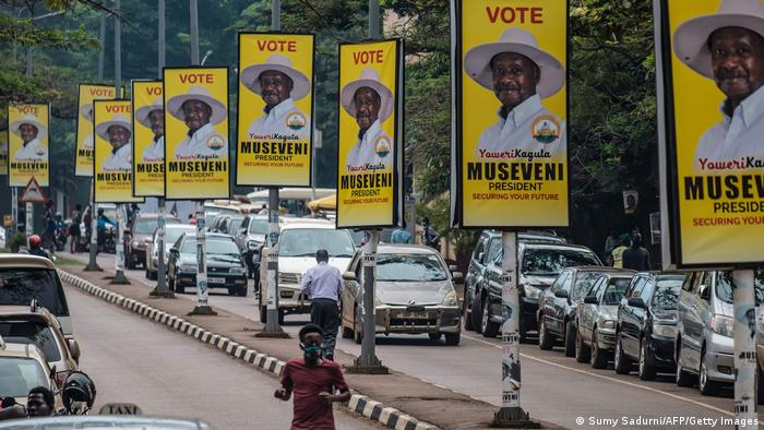 Billboards showing incumbent Museveni along a street in Kampala