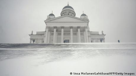 Finland's Helsinki Cathedral in a snowstorm
