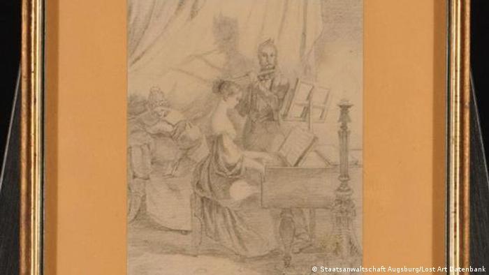 Zeichung Das Klavierspiel von Carl Spitzweg.