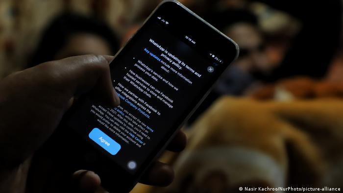 Whatsapp privacy policy terms message flashes on a mobile phone screen in Baramulla, Jammu and Kashmir India