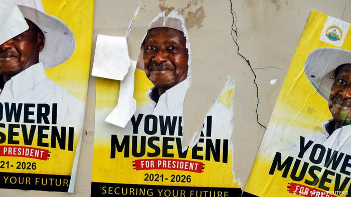 Torn election poster of President Museveni