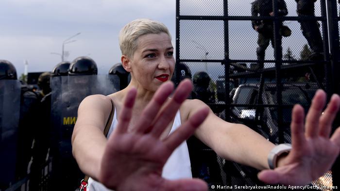 Мария Колесникова во время протестов в Минске в августе 2020 года