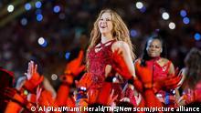 Shakira performs during the Pepsi Super Bowl LIV Halftime Show at Hard Rock Stadium in Miami Gardens, Fla., on Sunday, Feb. 2, 2020. (Al Diaz/Miami Herald/TNS) Photo via Newscom picture alliance