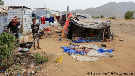Ein Notlager im Jemen