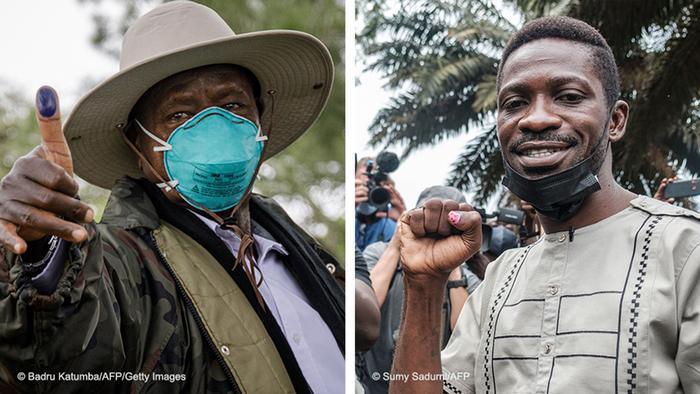 Bildkombo   Yoweri Museveni und Bobi Wine