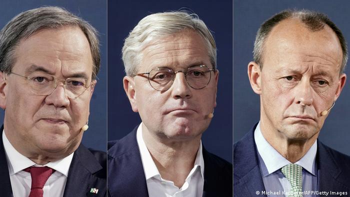Políticos conservadores alemães Armin Laschet, Norbert Röttgen e Friedrich Merz