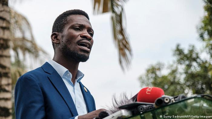 Bobi Wine speaks during a press conference