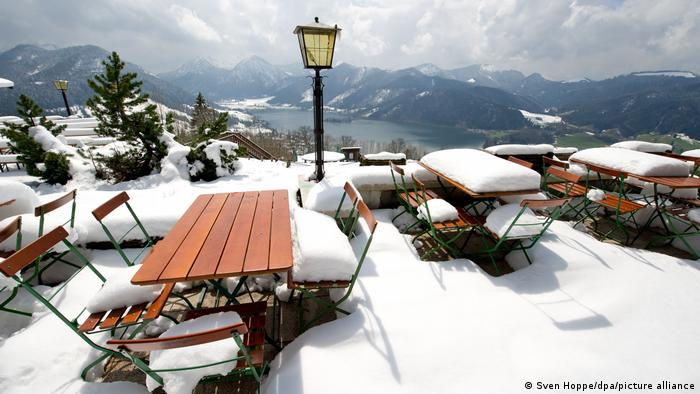 Snow at an alpine cafe in Schliersee, Germany