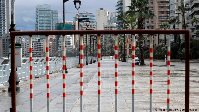 Lebanon's deserted promenade during the latest lockdown, which started last Thursday