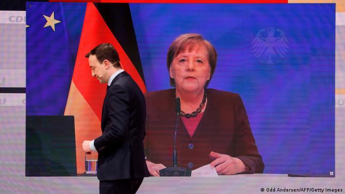 Merkel gives her speech from the Chancellery