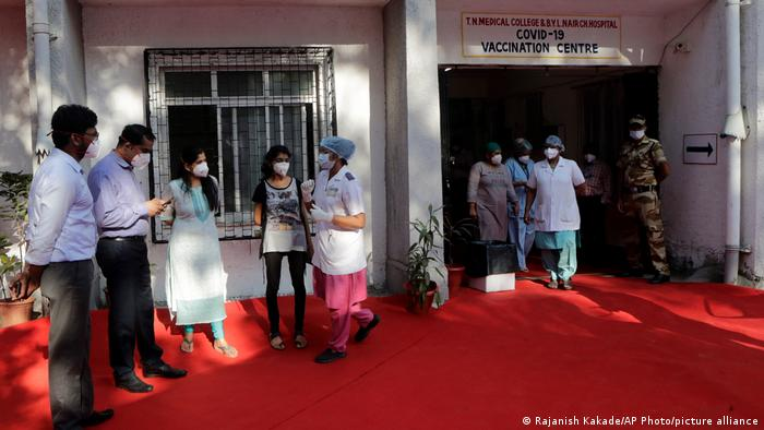 Health workers prepare for the COVID-19 vaccination drive at a hospital in Mumbai, India