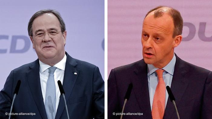 Bildkombo CDU Vorsitz Stichwahl Laschet Merz