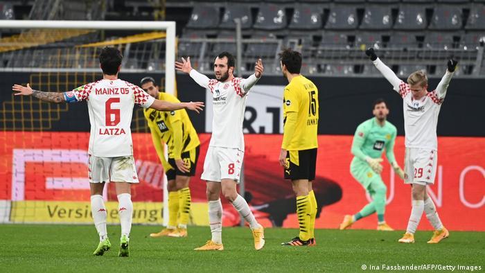 Mainz celebrate their stunning goal