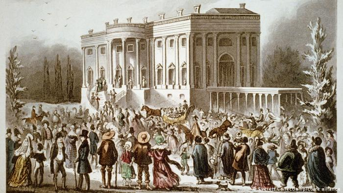 Citizens going to the public White House reception after Andrew Jackson's inauguration.