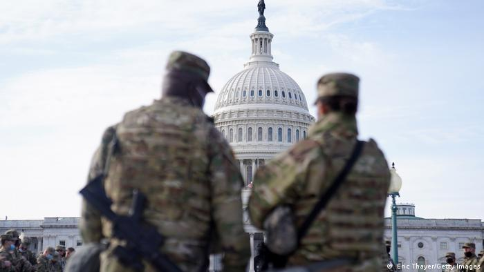 National Guard troops assemble outside of the US Captiol on January 16, 2021