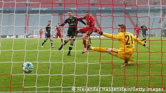 Robert Lewandowski scores a goal