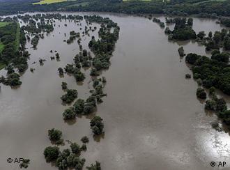 Aerial shot of flooding of river Oder