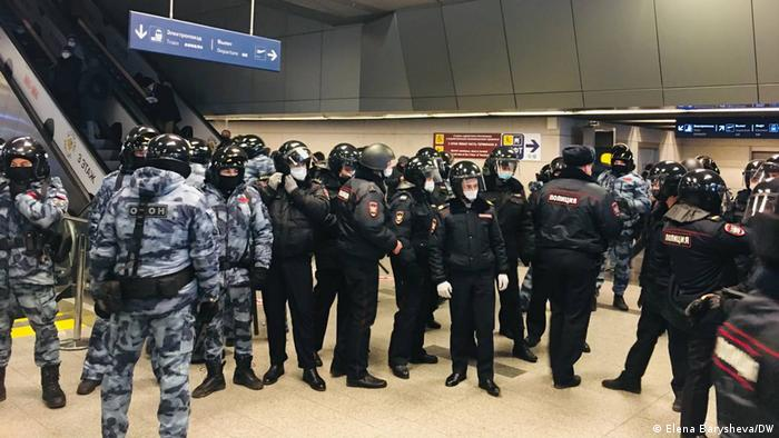 Russian special police teams and riot police in Vnukovo