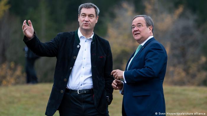 Deutschland Schloss Elmau 2019 |Markus Söder, MP Bayern & Armin Laschet, MP Nordrhein-Westfalen