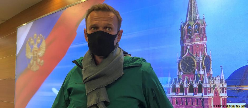 Russian opposition politician Alexei Navalny upon arriving in Moscow on January 17