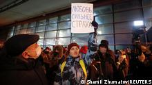 Russland Moskau | Flughafen Vnukovo |erwarteter Rückflug Alexej Nawalny | Anhänger
