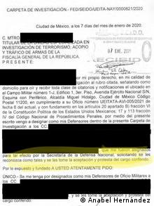 Documento publicado por la FGR el 16 de enero de 2021