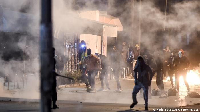 Protesters in Tunisia clash with security forces in Tunis