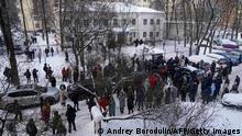 Russland Rückkehr Nawalny Polizeistation Protest
