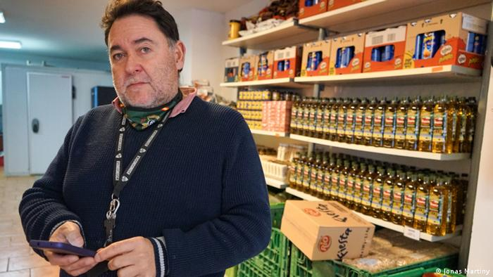 Miguel Angel Colom in his food bank