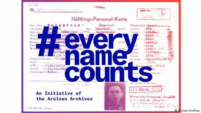Auf einer Häfltlings-Personal-Karte ist der Schriftzug #everynamecounts aufgedruckt