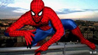 Spider-Man climbs building, photo