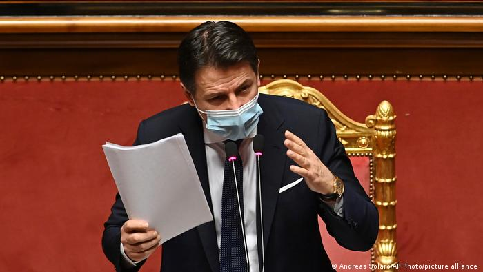 Premier Giuseppe Conte delivers an impassioned speech in the Senate on Tuesday