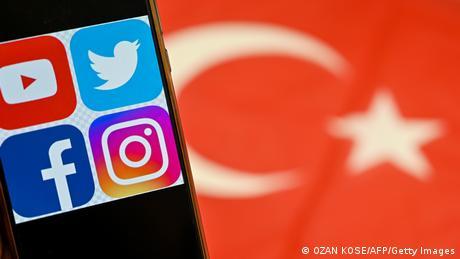 Social media platform logos against the Turkish flag