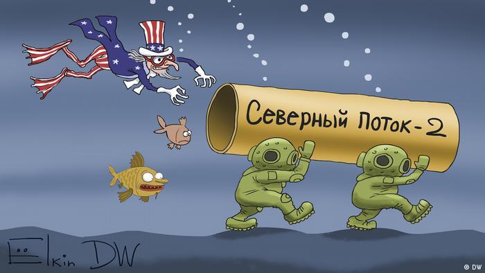 Карикатура Сергея Елкина Дядя Сэм нападает на водолазов, несущих по дну моря трубу с надписью Северный поток - 2