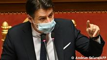 Prime Minister Giuseppe Conte addresses senators